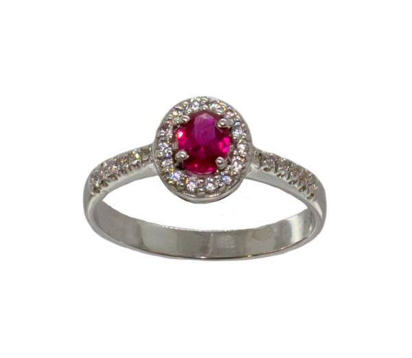 anello brillanti e rubino ovale