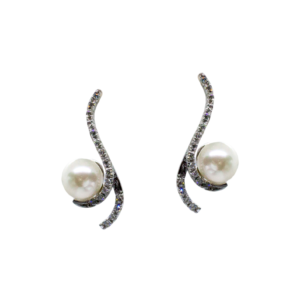 Orecchini In Oro Bianco S Di Brillanti Sgriffata E Perla