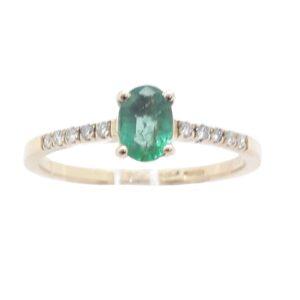 Anello Oro Giallo Brillanti Ct.0.10 Smeraldo Ct. 0.46